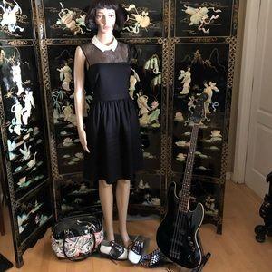 Betsey Johnson Black Peter Pan collar dress 6 mod